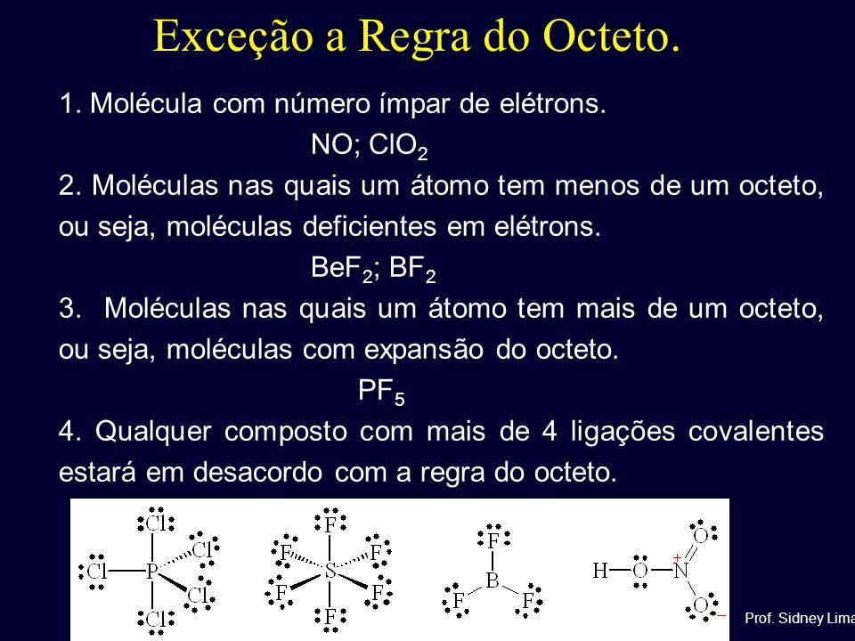 Exceção a Regra do Octeto. 1. Molécula com número ímpar de elétrons. NO; ClO 2 2. Moléculas nas quais um átomo tem menos de um octeto, ou seja, molécu