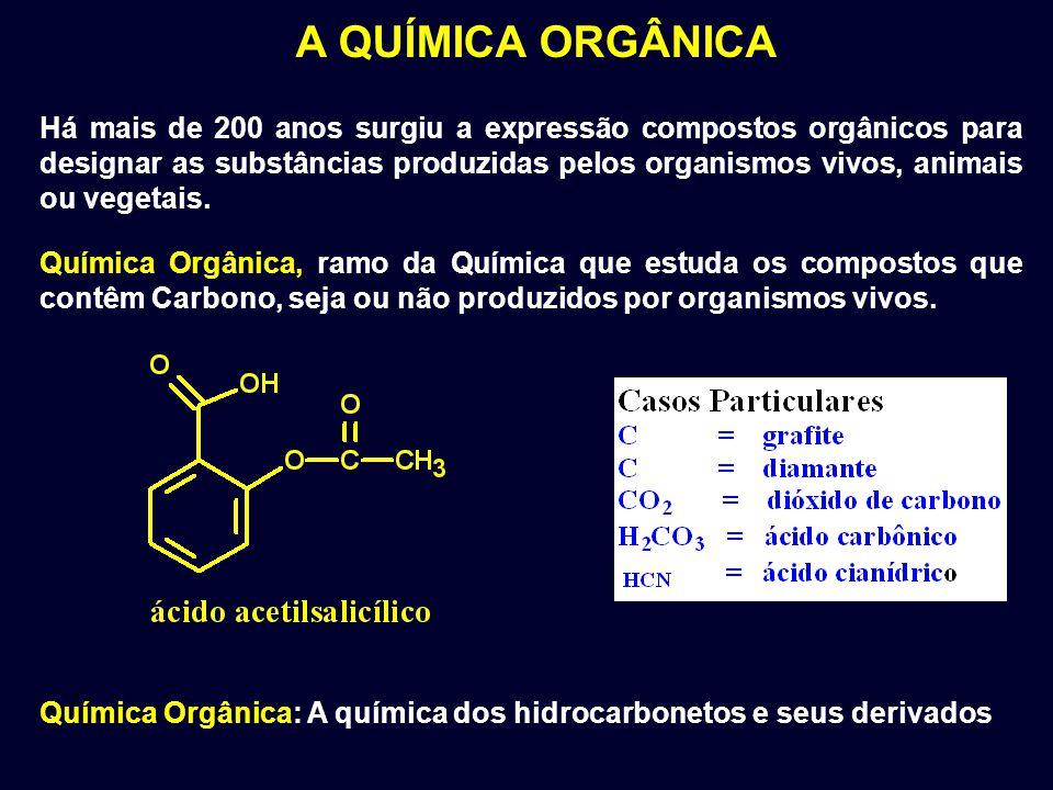A QUÍMICA ORGÂNICA Química Orgânica, ramo da Química que estuda os compostos que contêm Carbono, seja ou não produzidos por organismos vivos. Há mais