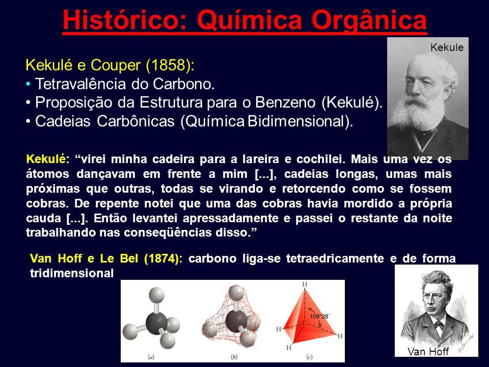 Histórico: Química Orgânica Kekulé e Couper (1858): Tetravalência do Carbono. Proposição da Estrutura para o Benzeno (Kekulé). Cadeias Carbônicas (Quí