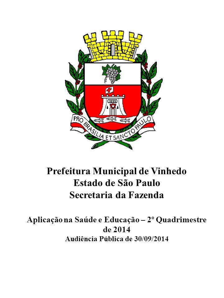 Prefeitura Municipal de Vinhedo Estado de São Paulo Secretaria da Fazenda Aplicação na Saúde e Educação – 2º Quadrimestre de 2014 Audiência Pública de