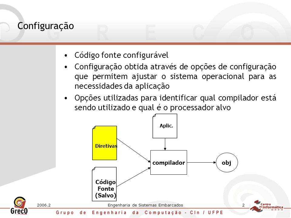 2006.2Engenharia de Sistemas Embarcados2 Configuração Código fonte configurável Configuração obtida através de opções de configuração que permitem ajustar o sistema operacional para as necessidades da aplicação Opções utilizadas para identificar qual compilador está sendo utilizado e qual é o processador alvo Código Fonte (Salvo) Diretivas compilador Aplic.