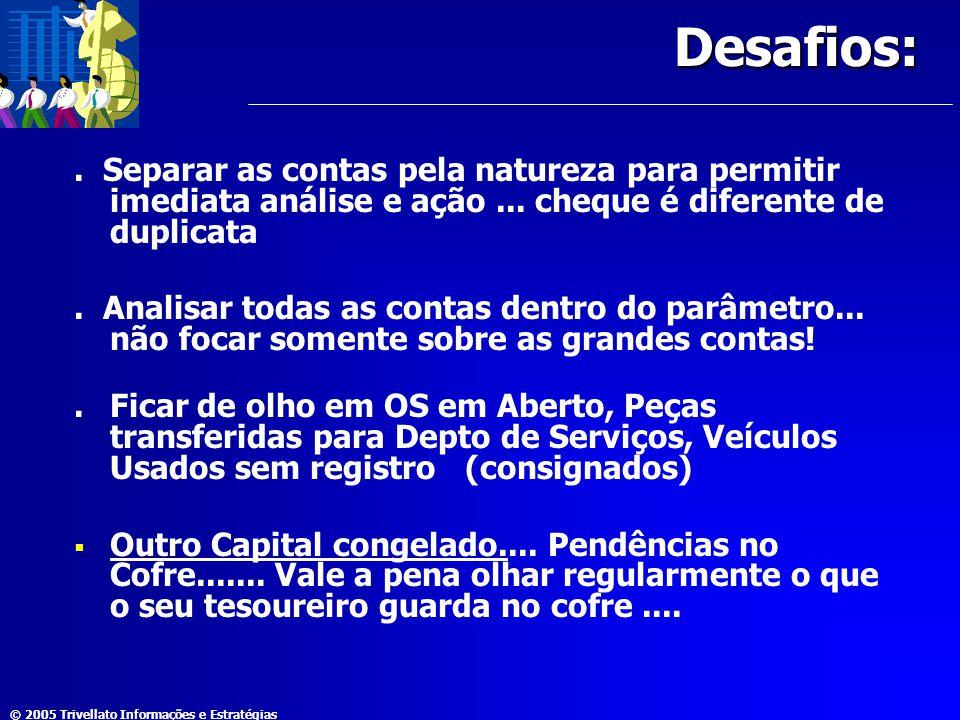 © 2005 Trivellato Informações e Estratégias Desafios:. Separar as contas pela natureza para permitir imediata análise e ação... cheque é diferente de