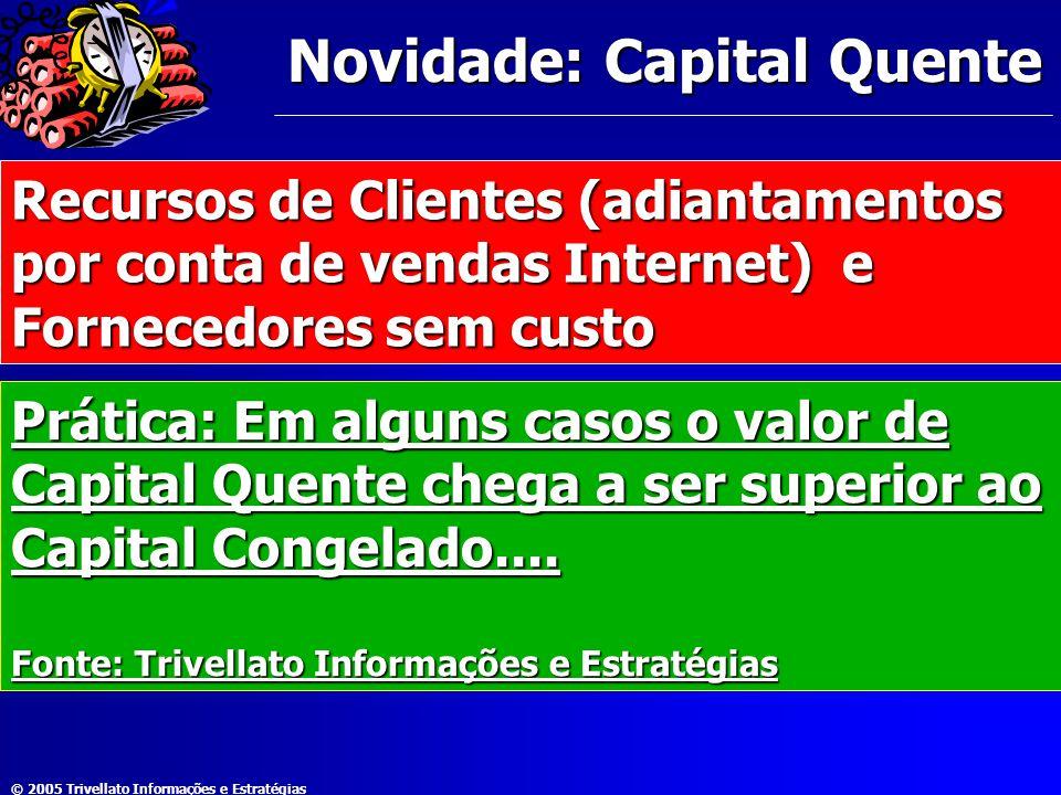 © 2005 Trivellato Informações e Estratégias Novidade: Capital Quente Recursos de Clientes (adiantamentos por conta de vendas Internet) e Fornecedores
