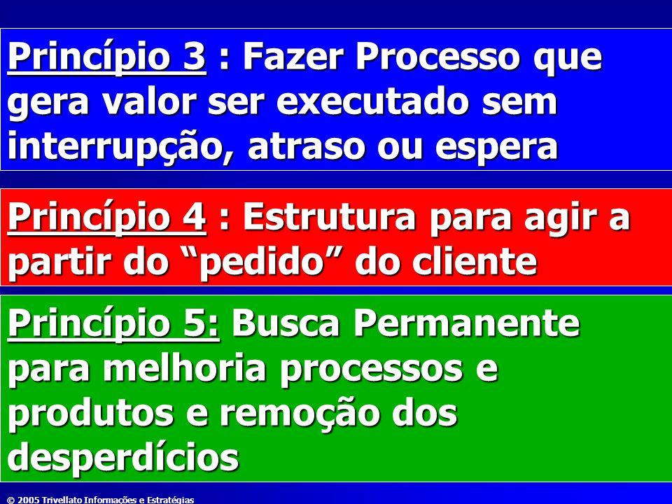 © 2005 Trivellato Informações e Estratégias Princípio 3 : Fazer Processo que gera valor ser executado sem interrupção, atraso ou espera Princípio 4 :