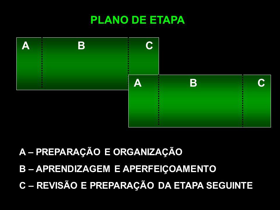 A B C PLANO DE ETAPA A – PREPARAÇÃO E ORGANIZAÇÃO B – APRENDIZAGEM E APERFEIÇOAMENTO C – REVISÃO E PREPARAÇÃO DA ETAPA SEGUINTE