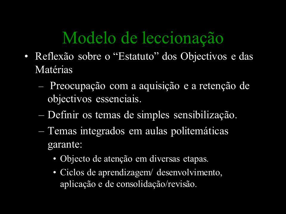 """Modelo de leccionação Reflexão sobre o """"Estatuto"""" dos Objectivos e das Matérias – Preocupação com a aquisição e a retenção de objectivos essenciais. –"""