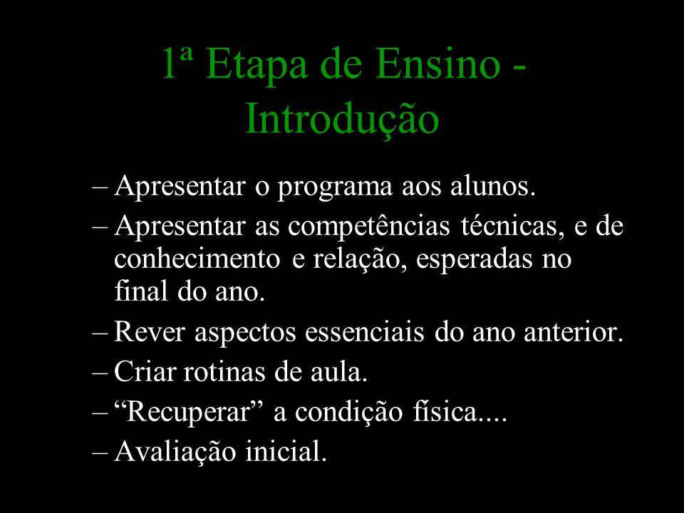1ª Etapa de Ensino - Introdução –Apresentar o programa aos alunos. –Apresentar as competências técnicas, e de conhecimento e relação, esperadas no fin