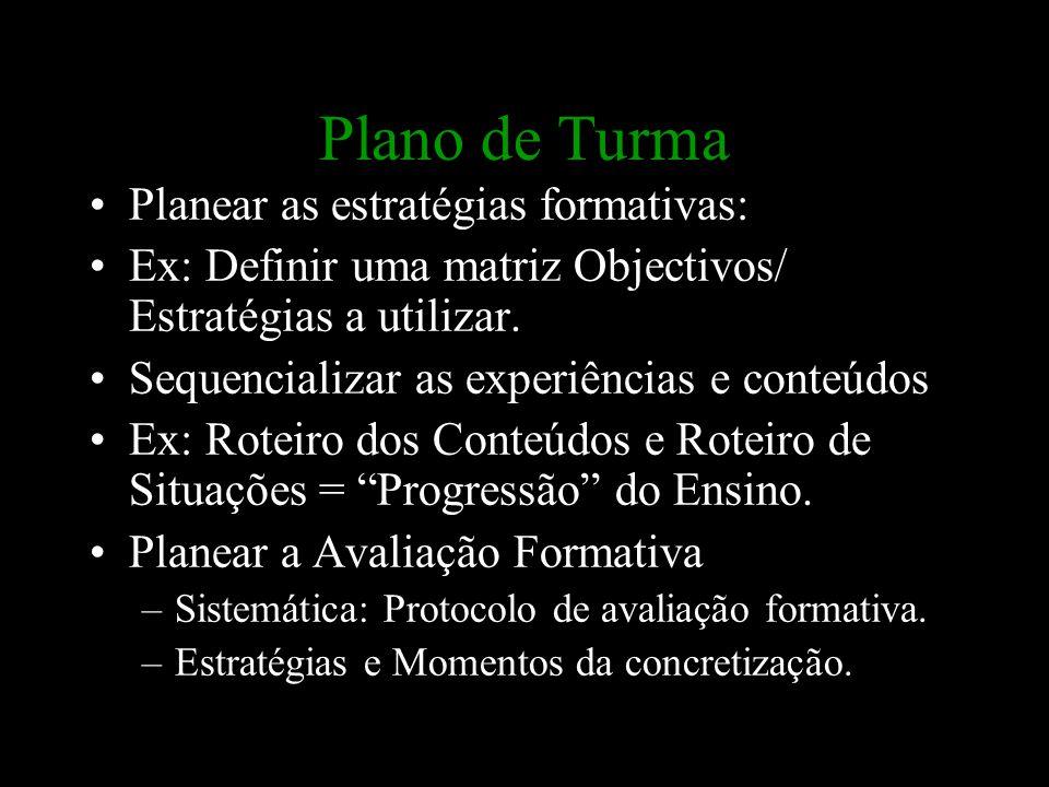 Plano de Turma Planear as estratégias formativas: Ex: Definir uma matriz Objectivos/ Estratégias a utilizar. Sequencializar as experiências e conteúdo