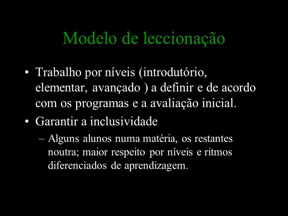 Modelo de leccionação Trabalho por níveis (introdutório, elementar, avançado ) a definir e de acordo com os programas e a avaliação inicial. Garantir