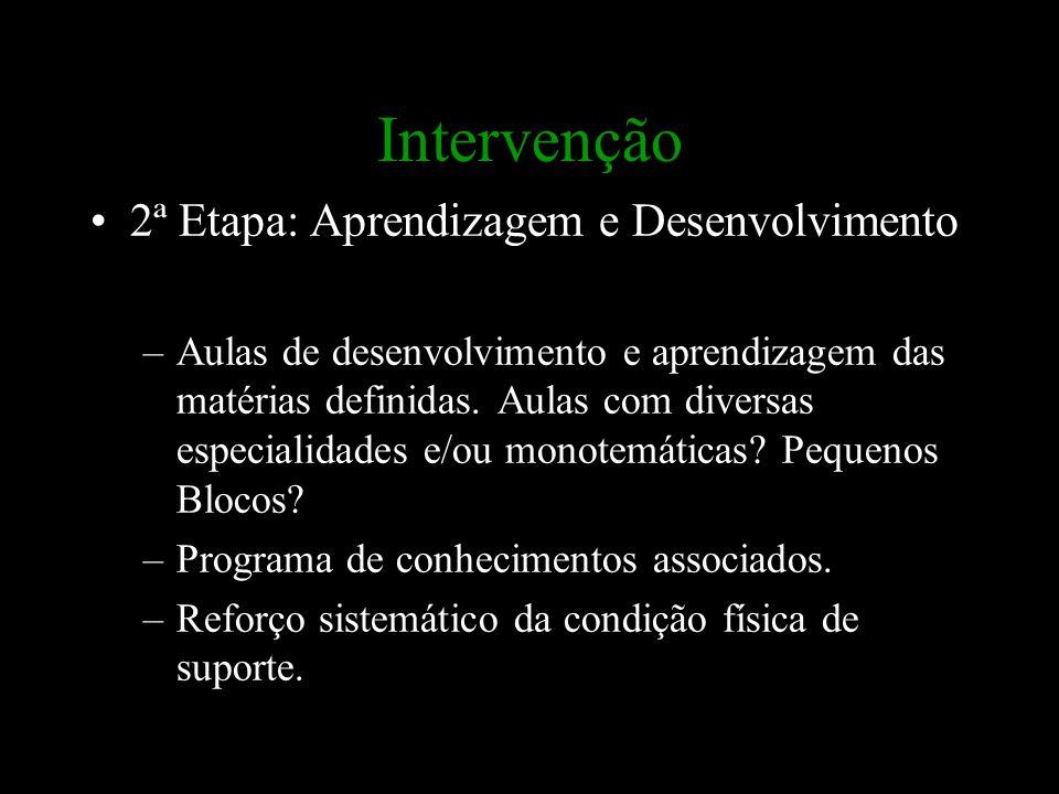 Intervenção 2ª Etapa: Aprendizagem e Desenvolvimento –Aulas de desenvolvimento e aprendizagem das matérias definidas. Aulas com diversas especialidade