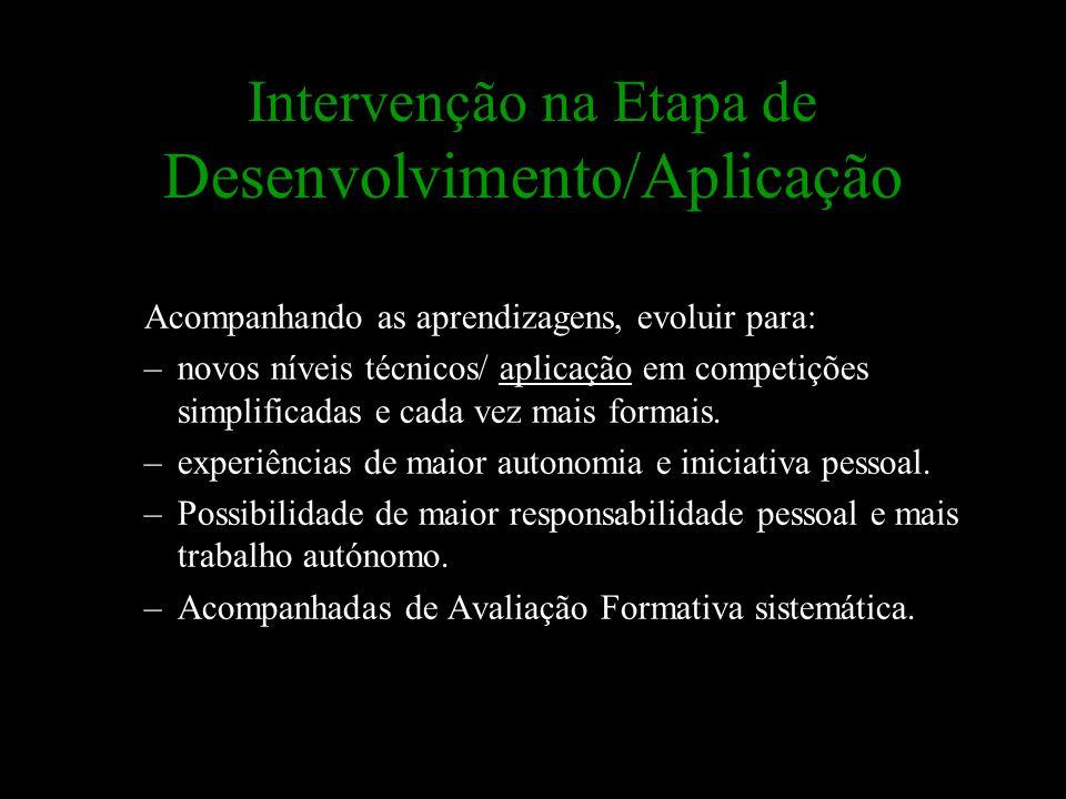 Intervenção na Etapa de Desenvolvimento/Aplicação Acompanhando as aprendizagens, evoluir para: –novos níveis técnicos/ aplicação em competições simpli
