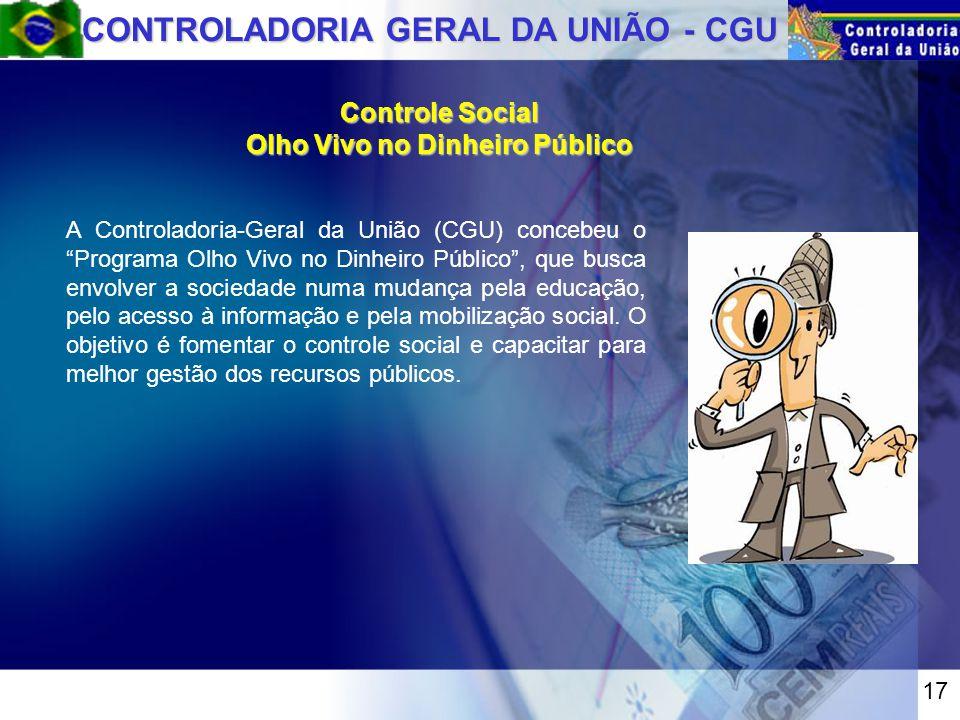 A Controladoria-Geral da União (CGU) concebeu o Programa Olho Vivo no Dinheiro Público , que busca envolver a sociedade numa mudança pela educação, pelo acesso à informação e pela mobilização social.