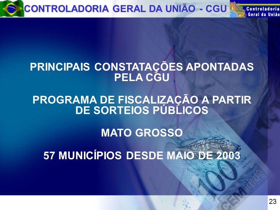 CONTROLADORIA GERAL DA UNIÃO - CGU PRINCIPAIS CONSTATAÇÕES APONTADAS PELA CGU PROGRAMA DE FISCALIZAÇÃO A PARTIR DE SORTEIOS PÚBLICOS MATO GROSSO 57 MUNICÍPIOS DESDE MAIO DE 2003 23
