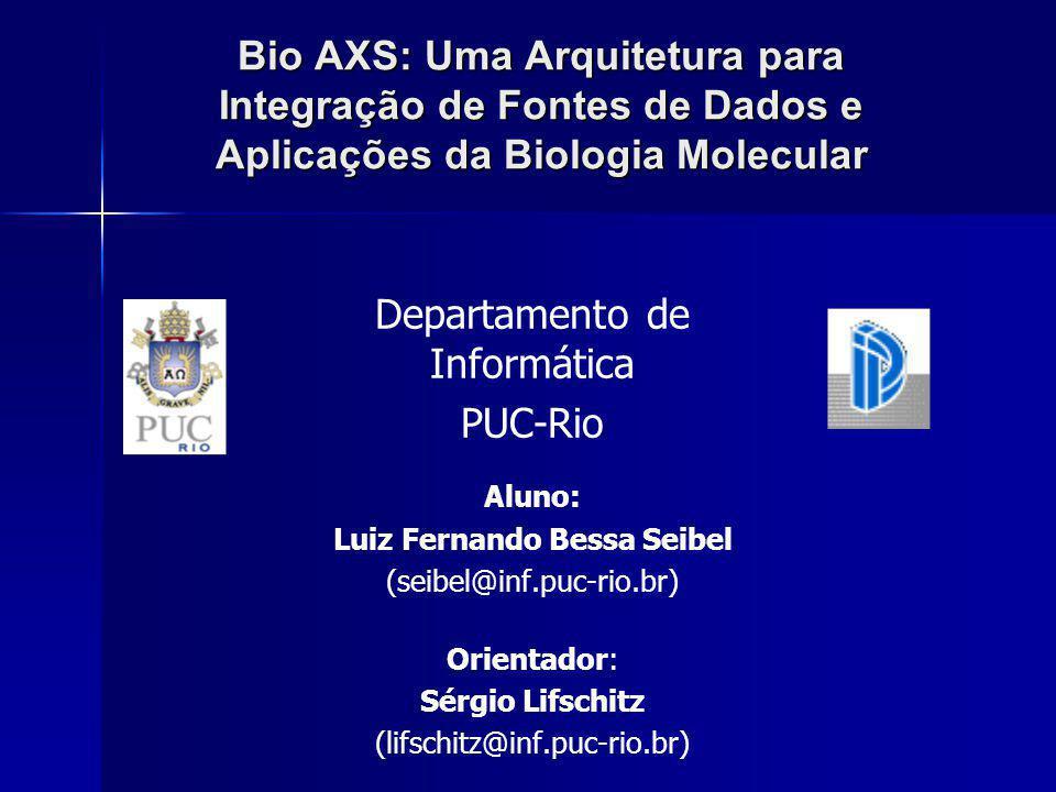 Bio AXS Luiz Fernando Bessa SeibelBio AXS: Uma Arquitetura para Integração de Fontes de Dados e Aplicações da Biologia Molecular 52 Caso 1: Carga de Dados do Swissprot Caso 1: Carga de Dados do SwissprotCarga de Dados do SwissprotCarga de Dados do Swissprot Caso 2: Construção do Esquema da Biologia Caso 2: Construção do Esquema da BiologiaConstrução do Esquema da BiologiaConstrução do Esquema da Biologia Caso 3: Construção do Esquema Específico Caso 3: Construção do Esquema EspecíficoConstrução do Esquema EspecíficoConstrução do Esquema Específico Caso 4: Instanciação do Esquema Específico Caso 4: Instanciação do Esquema EspecíficoInstanciação do Esquema EspecíficoInstanciação do Esquema Específico Caso 5: Execução do BLAST Caso 5: Execução do BLASTExecução do BLASTExecução do BLAST Caso 6: Execução do Algoritmo de Alinhamento Caso 6: Execução do Algoritmo de AlinhamentoExecução do Algoritmo de AlinhamentoExecução do Algoritmo de Alinhamento Caso 7: Seleção de Dados Caso 7: Seleção de DadosSeleção de DadosSeleção de Dados Caso 8: Comparação de Keywords do Swissprot e PIR Caso 8: Comparação de Keywords do Swissprot e PIRComparação de Keywords do Swissprot e PIRComparação de Keywords do Swissprot e PIRContribuições