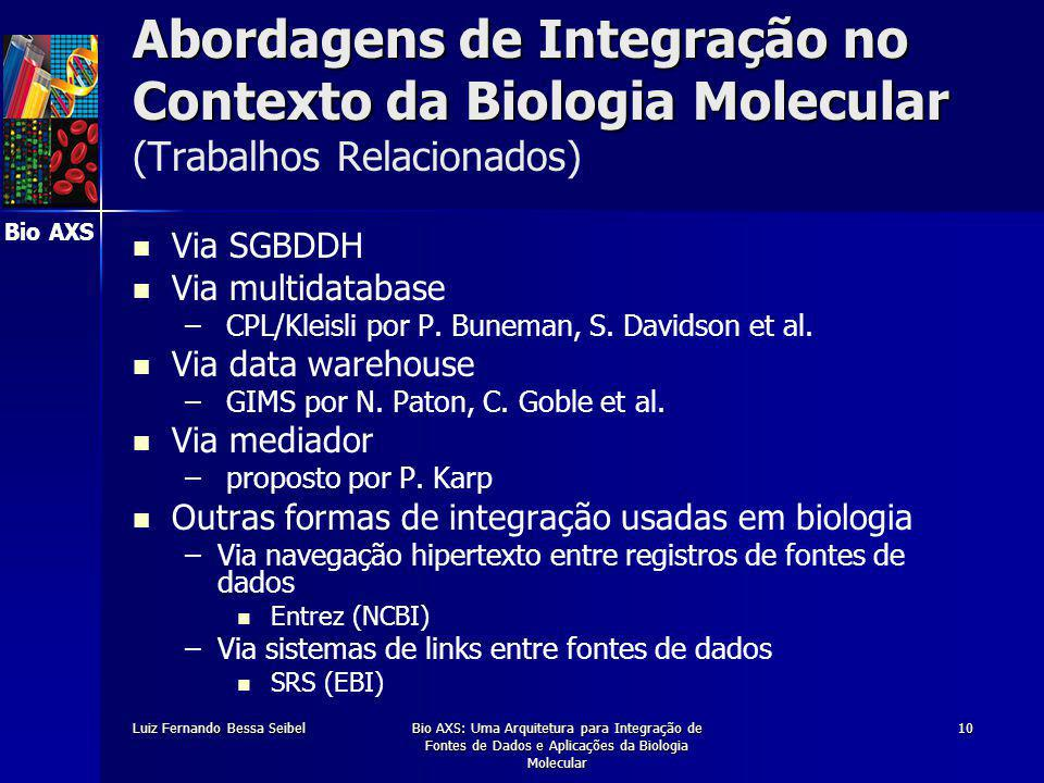 Bio AXS Luiz Fernando Bessa SeibelBio AXS: Uma Arquitetura para Integração de Fontes de Dados e Aplicações da Biologia Molecular 10 Abordagens de Integração no Contexto da Biologia Molecular Abordagens de Integração no Contexto da Biologia Molecular (Trabalhos Relacionados) Via SGBDDH Via multidatabase – – CPL/Kleisli por P.