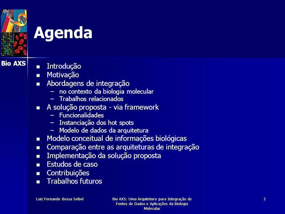 Bio AXS Luiz Fernando Bessa SeibelBio AXS: Uma Arquitetura para Integração de Fontes de Dados e Aplicações da Biologia Molecular 13 A Solução Proposta O framework proposto propicia: Flexibilidade, através da – –captura dos esquemas das fontes de dados da biologia – –definição e manutenção de um esquema próprio – –definição de um modelo de dados / ontologia efetivamente usada nas fontes de dados existentes – –utilização das aplicações disponíveis Alta performance no acesso aos dados Extensibilidade, através da – –incorporação de qualquer aplicação existente – –incorporação de qualquer fonte de dados de biologia – –instanciação de uma fonte de dados para uma pesquisa específica
