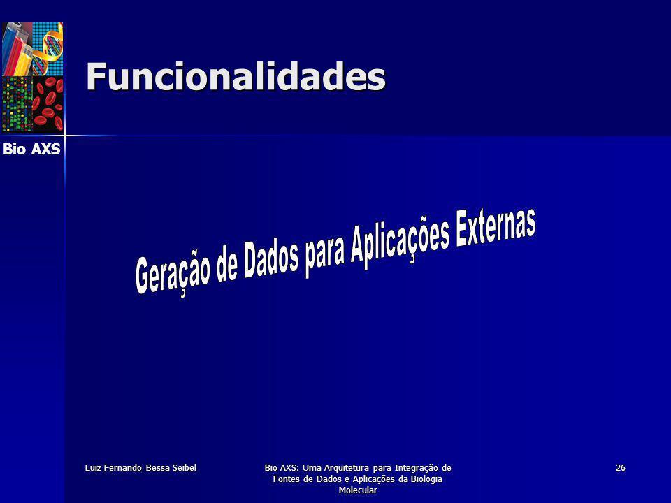 Bio AXS Luiz Fernando Bessa SeibelBio AXS: Uma Arquitetura para Integração de Fontes de Dados e Aplicações da Biologia Molecular 26 Funcionalidades