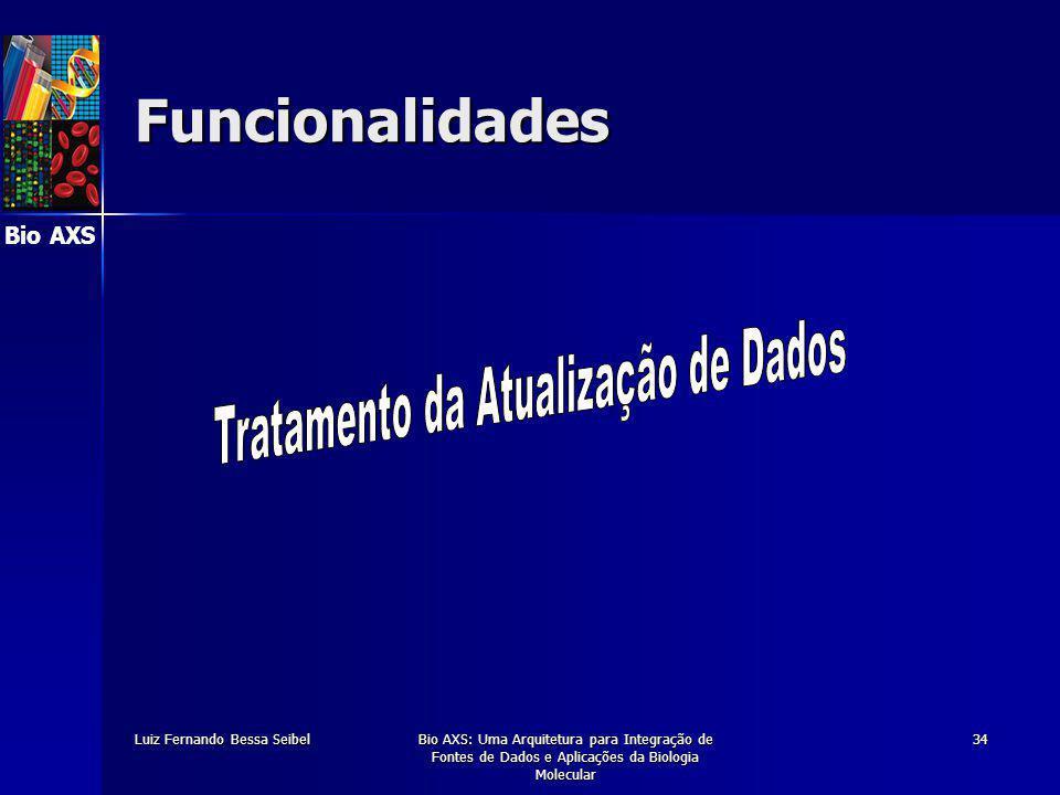Bio AXS Luiz Fernando Bessa SeibelBio AXS: Uma Arquitetura para Integração de Fontes de Dados e Aplicações da Biologia Molecular 34 Funcionalidades