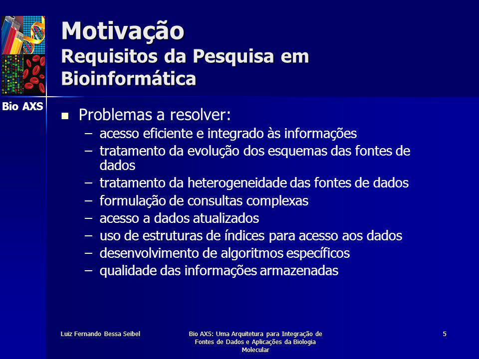 Bio AXS Luiz Fernando Bessa SeibelBio AXS: Uma Arquitetura para Integração de Fontes de Dados e Aplicações da Biologia Molecular 16 Apresentação da Arquitetura