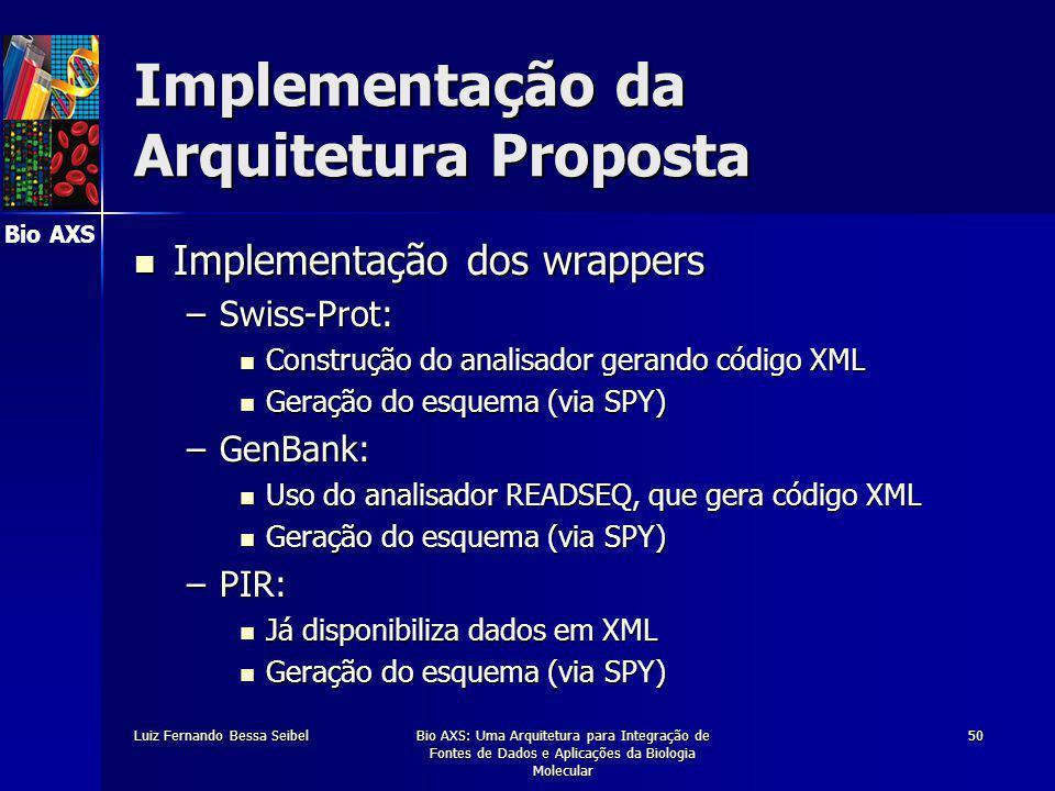 Bio AXS Luiz Fernando Bessa SeibelBio AXS: Uma Arquitetura para Integração de Fontes de Dados e Aplicações da Biologia Molecular 50 Implementação da Arquitetura Proposta Implementação dos wrappers Implementação dos wrappers –Swiss-Prot: Construção do analisador gerando código XML Construção do analisador gerando código XML Geração do esquema (via SPY) Geração do esquema (via SPY) –GenBank: Uso do analisador READSEQ, que gera código XML Uso do analisador READSEQ, que gera código XML Geração do esquema (via SPY) Geração do esquema (via SPY) –PIR: Já disponibiliza dados em XML Já disponibiliza dados em XML Geração do esquema (via SPY) Geração do esquema (via SPY)
