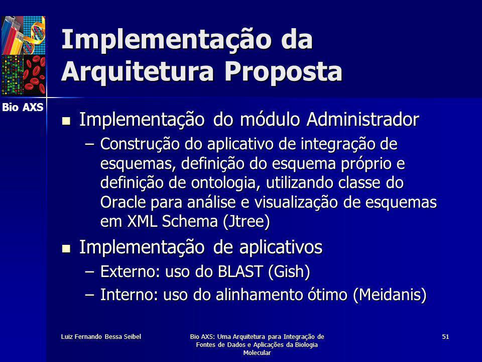 Bio AXS Luiz Fernando Bessa SeibelBio AXS: Uma Arquitetura para Integração de Fontes de Dados e Aplicações da Biologia Molecular 51 Implementação da Arquitetura Proposta Implementação do módulo Administrador Implementação do módulo Administrador –Construção do aplicativo de integração de esquemas, definição do esquema próprio e definição de ontologia, utilizando classe do Oracle para análise e visualização de esquemas em XML Schema (Jtree) Implementação de aplicativos Implementação de aplicativos –Externo: uso do BLAST (Gish) –Interno: uso do alinhamento ótimo (Meidanis)