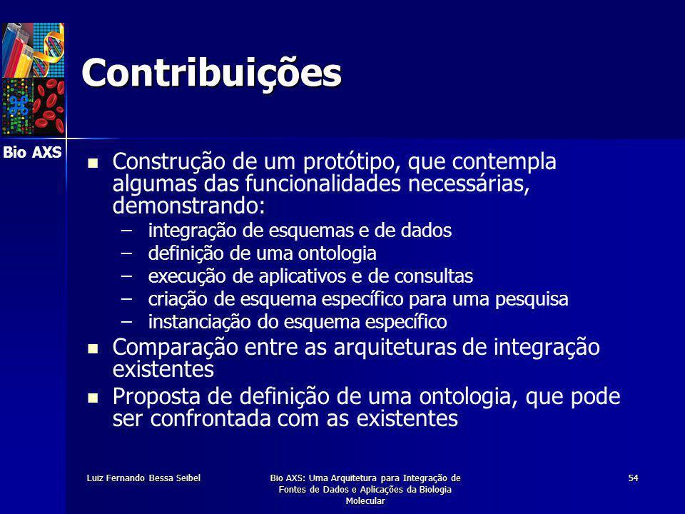 Bio AXS Luiz Fernando Bessa SeibelBio AXS: Uma Arquitetura para Integração de Fontes de Dados e Aplicações da Biologia Molecular 54 z Contribuições Construção de um protótipo, que contempla algumas das funcionalidades necessárias, demonstrando: – – integração de esquemas e de dados – – definição de uma ontologia – – execução de aplicativos e de consultas – – criação de esquema específico para uma pesquisa – – instanciação do esquema específico Comparação entre as arquiteturas de integração existentes Proposta de definição de uma ontologia, que pode ser confrontada com as existentes