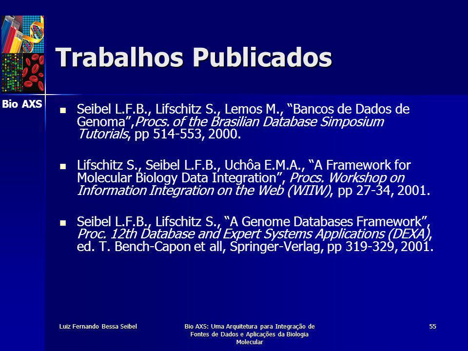 Bio AXS Luiz Fernando Bessa SeibelBio AXS: Uma Arquitetura para Integração de Fontes de Dados e Aplicações da Biologia Molecular 55 Trabalhos Publicados Seibel L.F.B., Lifschitz S., Lemos M., Bancos de Dados de Genoma ,Procs.