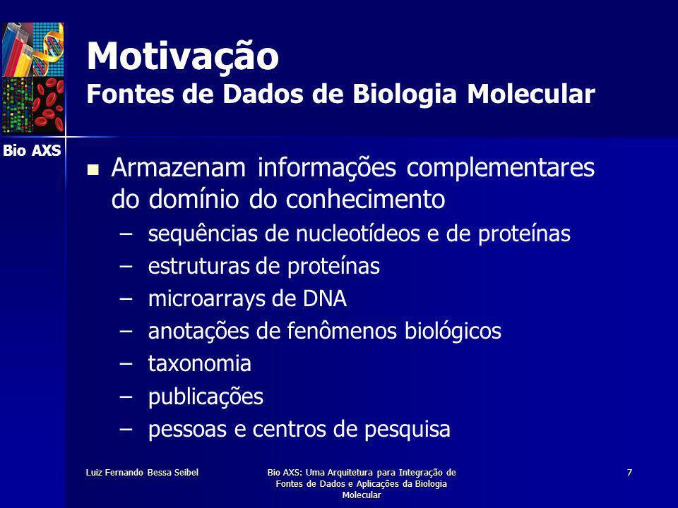 Bio AXS Luiz Fernando Bessa SeibelBio AXS: Uma Arquitetura para Integração de Fontes de Dados e Aplicações da Biologia Molecular 7 Motivação Fontes de Dados de Biologia Molecular Armazenam informações complementares do domínio do conhecimento – – sequências de nucleotídeos e de proteínas – – estruturas de proteínas – – microarrays de DNA – – anotações de fenômenos biológicos – – taxonomia – – publicações – – pessoas e centros de pesquisa