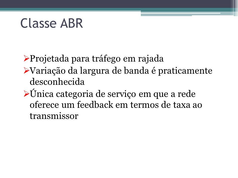 Classe NRT-VBR  Basicamente possui as mesmas características da RT-VBR, com a diferença de que não trabalha com aplicações em tempo real