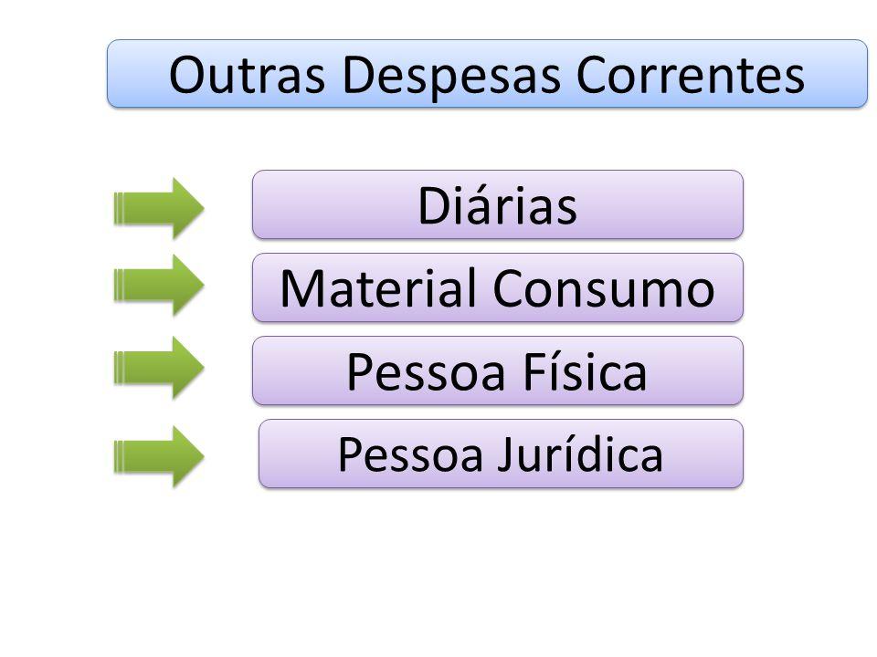 Outras Despesas Correntes Pessoa Física Pessoa Jurídica Material Consumo Diárias