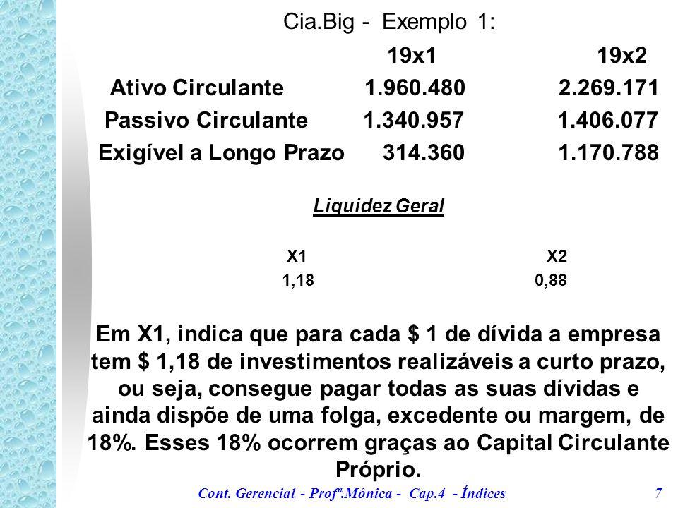 Cont. Gerencial - Profª.Mônica - Cap.4 - Índices 6 1. Liquidez Geral Este indicador identifica o grau de liquidez, tanto a curto como a longo prazo. É