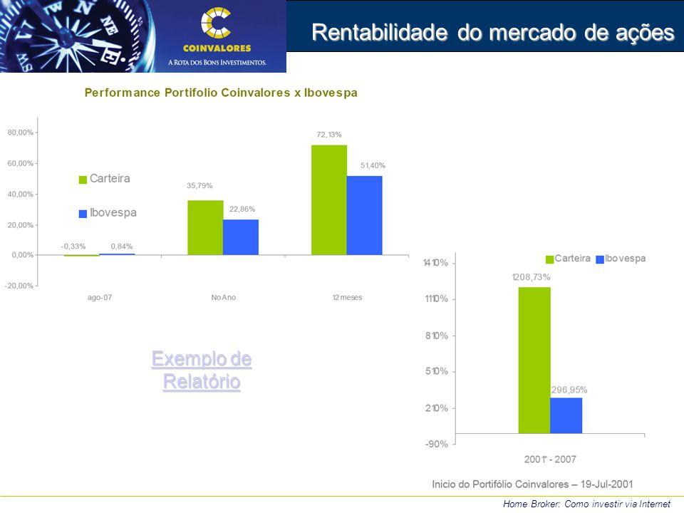 Rentabilidade do mercado de ações Home Broker: Como investir via Internet Exemplo de Relatório Exemplo de Relatório