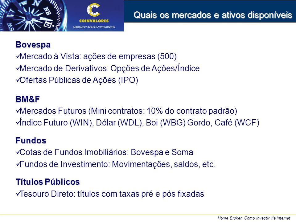 Quais os mercados e ativos disponíveis Bovespa Mercado à Vista: ações de empresas (500) Mercado de Derivativos: Opções de Ações/Índice Ofertas Públicas de Ações (IPO)BM&F Mercados Futuros (Mini contratos: 10% do contrato padrão) Índice Futuro (WIN), Dólar (WDL), Boi (WBG) Gordo, Café (WCF)Fundos Cotas de Fundos Imobiliários: Bovespa e Soma Fundos de Investimento: Movimentações, saldos, etc.