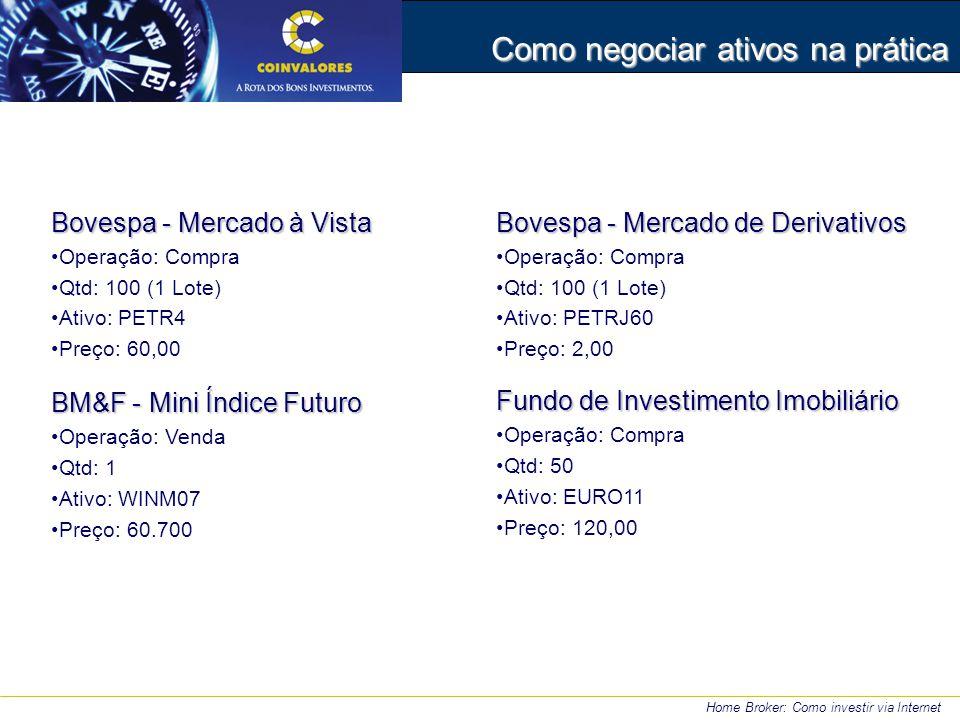Bovespa - Mercado à Vista Operação: Compra Qtd: 100 (1 Lote) Ativo: PETR4 Preço: 60,00 BM&F - Mini Índice Futuro Operação: Venda Qtd: 1 Ativo: WINM07 Preço: 60.700 Home Broker: Como investir via Internet Como negociar ativos na prática Bovespa - Mercado de Derivativos Operação: Compra Qtd: 100 (1 Lote) Ativo: PETRJ60 Preço: 2,00 Fundo de Investimento Imobiliário Operação: Compra Qtd: 50 Ativo: EURO11 Preço: 120,00
