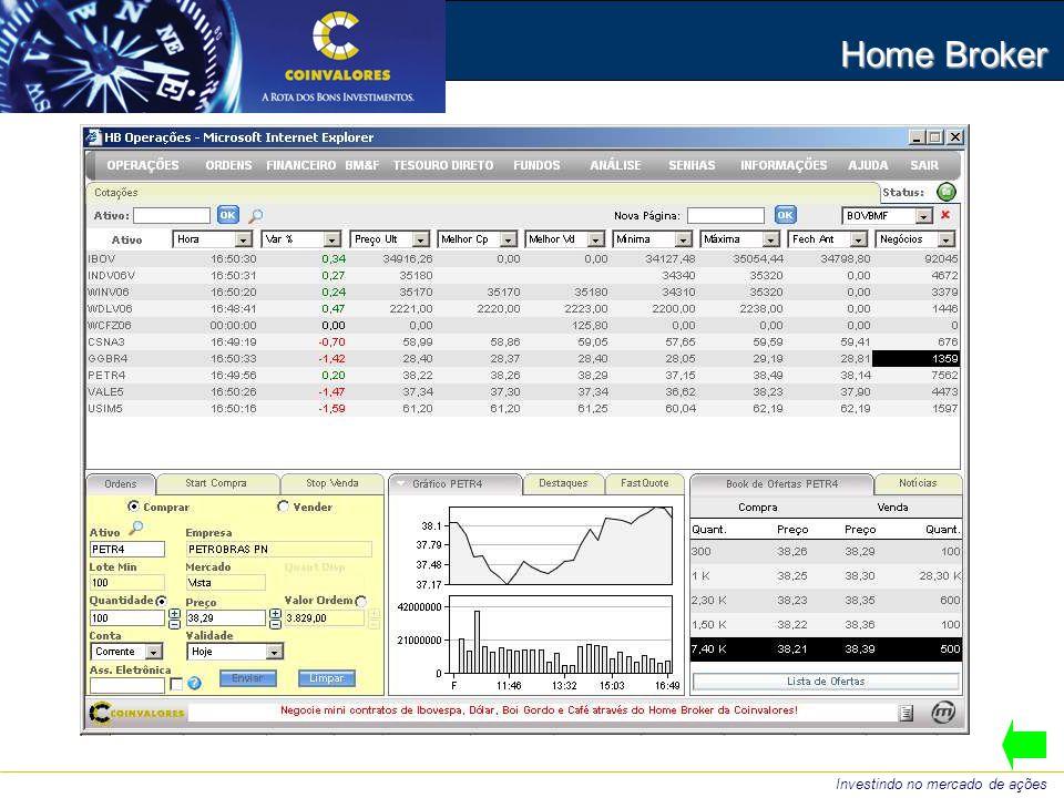 Home Broker Investindo no mercado de ações