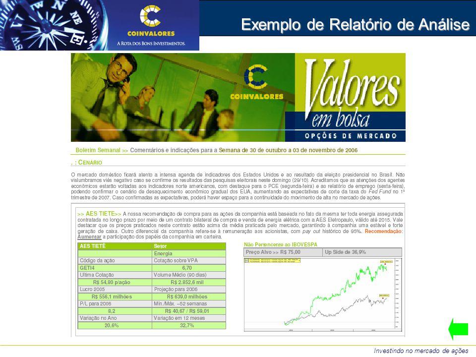 Exemplo de Relatório de Análise Investindo no mercado de ações
