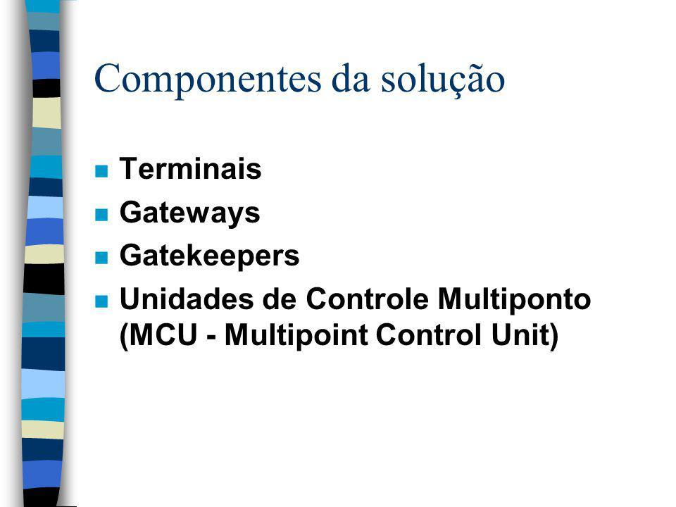 Componentes da solução n Terminais n Gateways n Gatekeepers n Unidades de Controle Multiponto (MCU - Multipoint Control Unit)