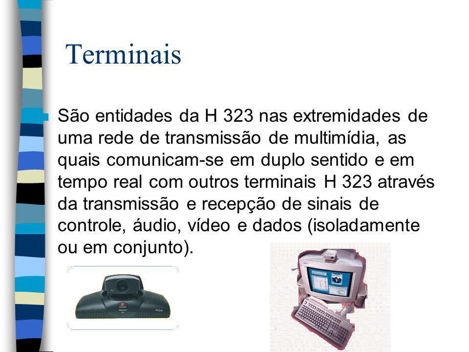 Terminais n São entidades da H 323 nas extremidades de uma rede de transmissão de multimídia, as quais comunicam-se em duplo sentido e em tempo real c