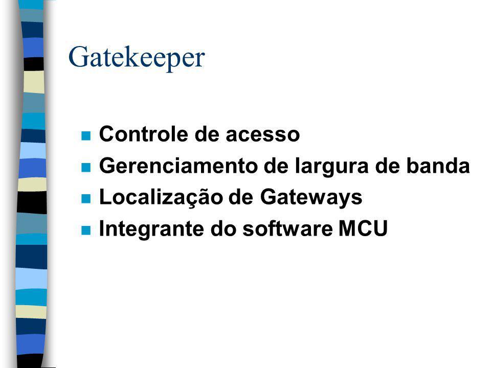 Gatekeeper n Controle de acesso n Gerenciamento de largura de banda n Localização de Gateways n Integrante do software MCU