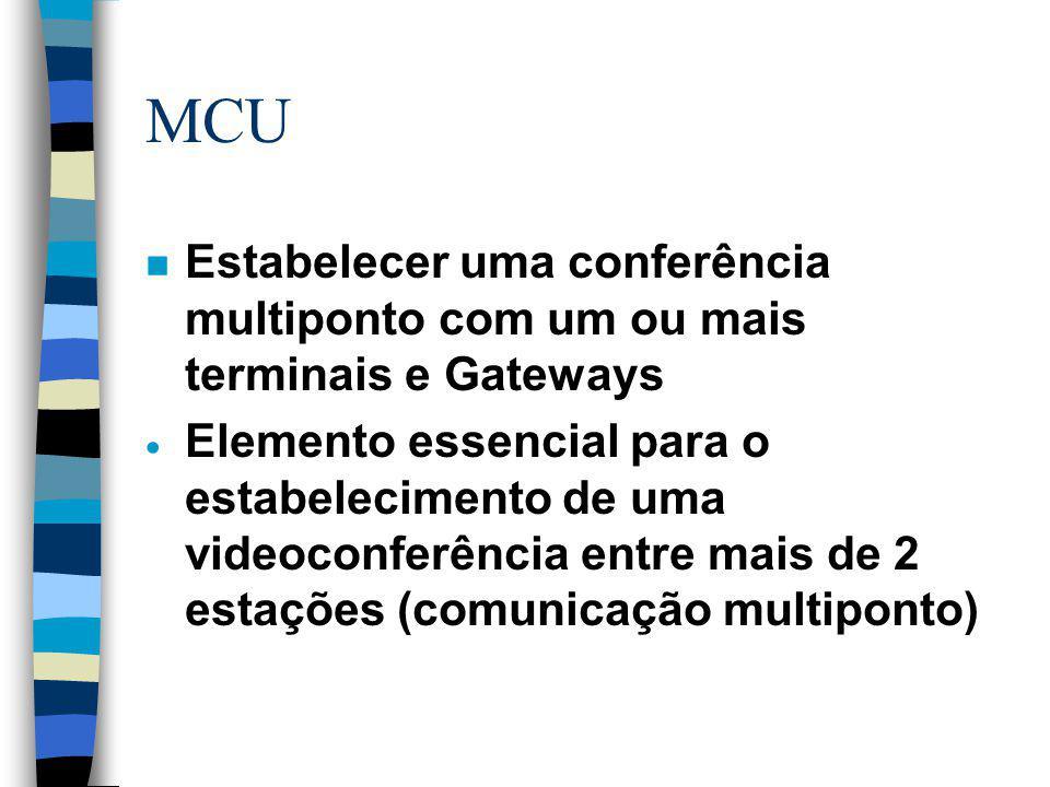 MCU n Estabelecer uma conferência multiponto com um ou mais terminais e Gateways  Elemento essencial para o estabelecimento de uma videoconferência e