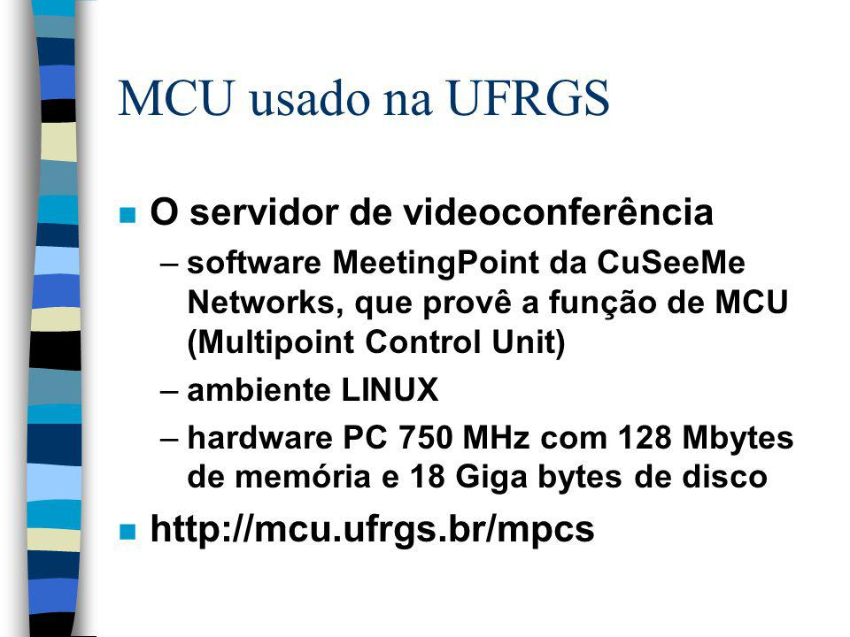 MCU usado na UFRGS n O servidor de videoconferência –software MeetingPoint da CuSeeMe Networks, que provê a função de MCU (Multipoint Control Unit) –a