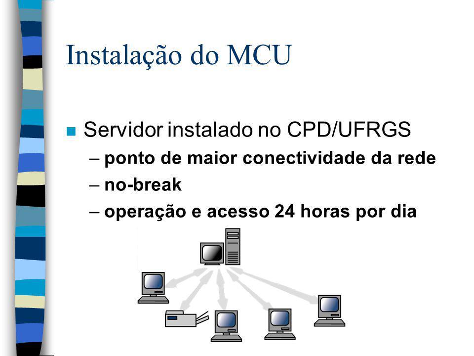 Instalação do MCU n Servidor instalado no CPD/UFRGS –ponto de maior conectividade da rede –no-break –operação e acesso 24 horas por dia