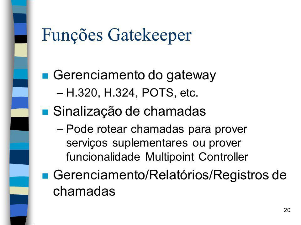 20 Funções Gatekeeper n Gerenciamento do gateway –H.320, H.324, POTS, etc. n Sinalização de chamadas –Pode rotear chamadas para prover serviços suplem