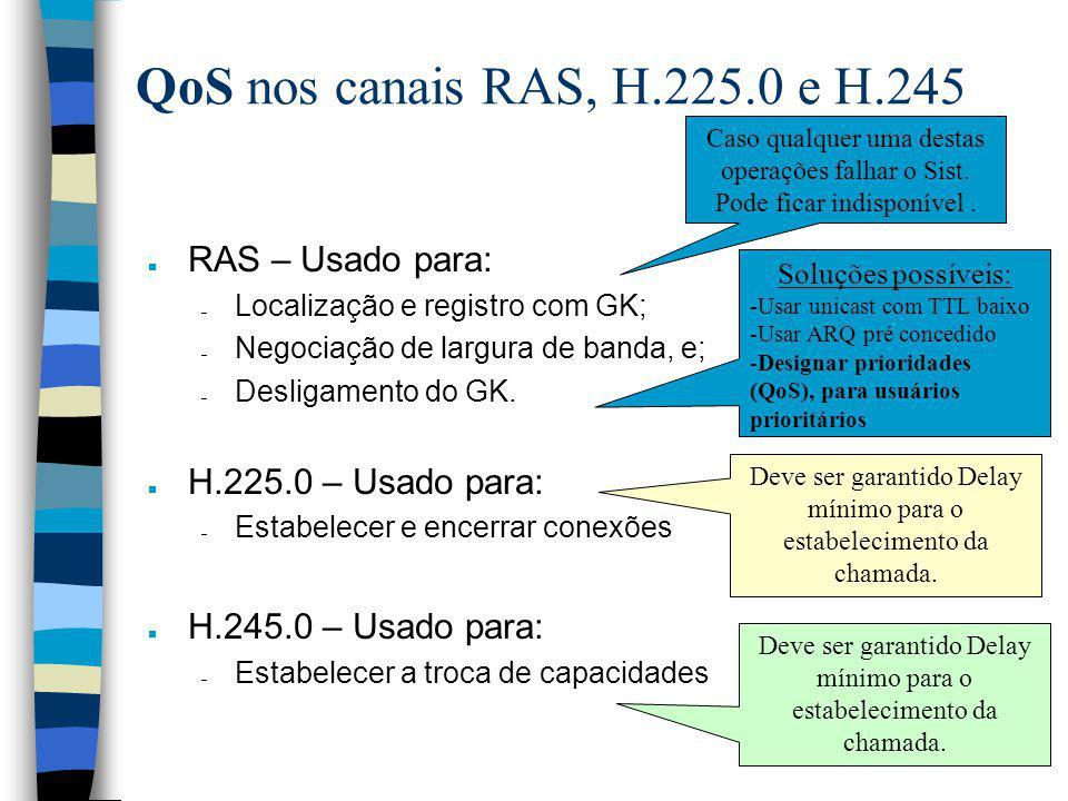 QoS nos canais RAS, H.225.0 e H.245 n RAS – Usado para: – Localização e registro com GK; – Negociação de largura de banda, e; – Desligamento do GK. n