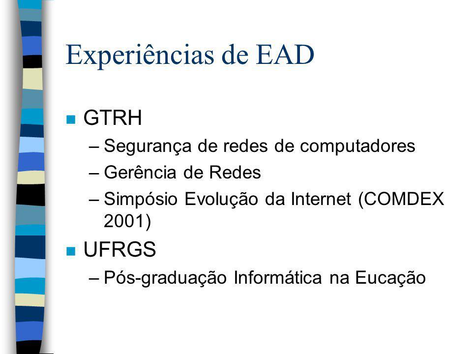 Experiências de EAD n GTRH –Segurança de redes de computadores –Gerência de Redes –Simpósio Evolução da Internet (COMDEX 2001) n UFRGS –Pós-graduação