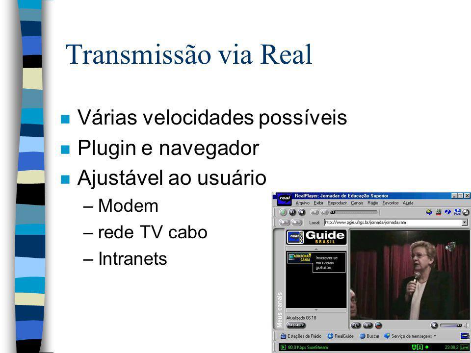 Transmissão via Real n Várias velocidades possíveis n Plugin e navegador n Ajustável ao usuário –Modem –rede TV cabo –Intranets