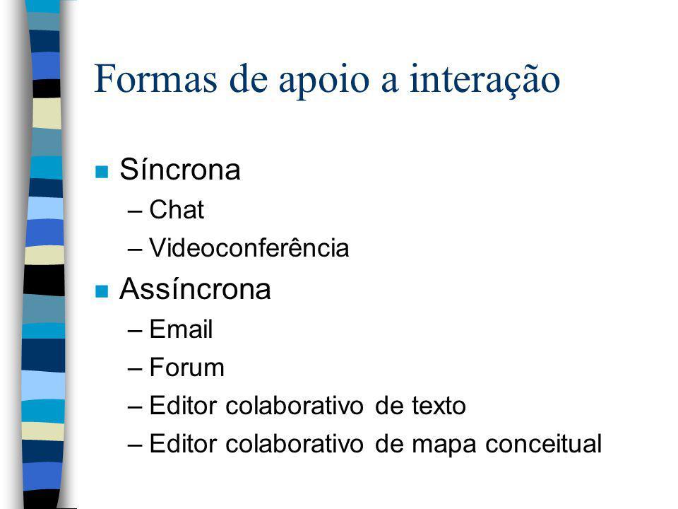 Formas de apoio a interação n Síncrona –Chat –Videoconferência n Assíncrona –Email –Forum –Editor colaborativo de texto –Editor colaborativo de mapa c