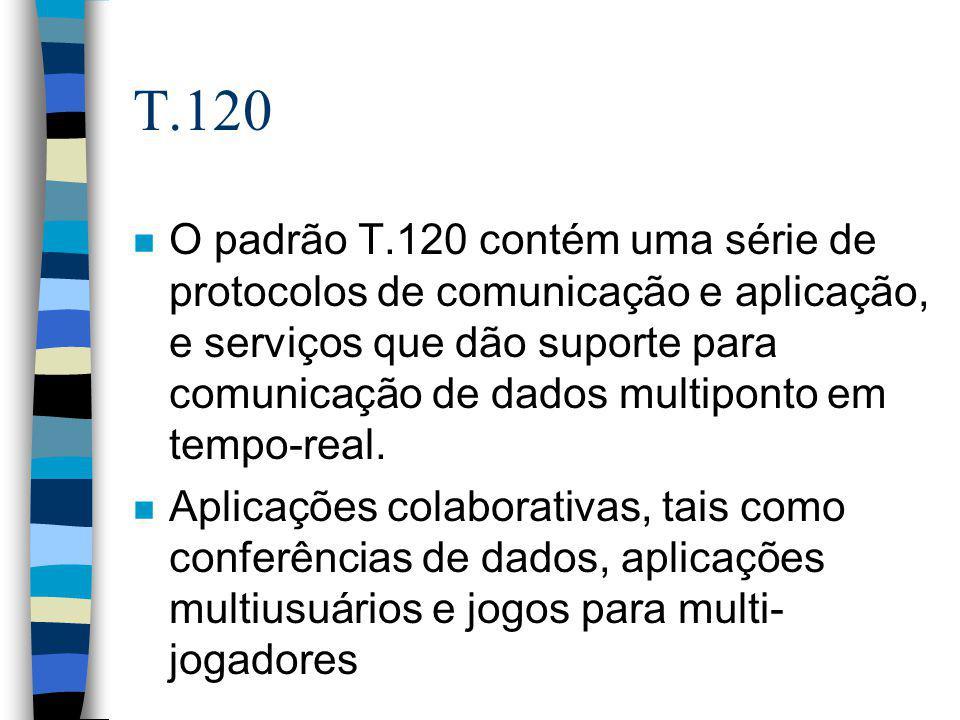 T.120 n O padrão T.120 contém uma série de protocolos de comunicação e aplicação, e serviços que dão suporte para comunicação de dados multiponto em t