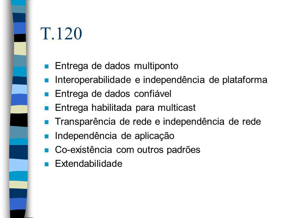 T.120 n Entrega de dados multiponto n Interoperabilidade e independência de plataforma n Entrega de dados confiável n Entrega habilitada para multicas