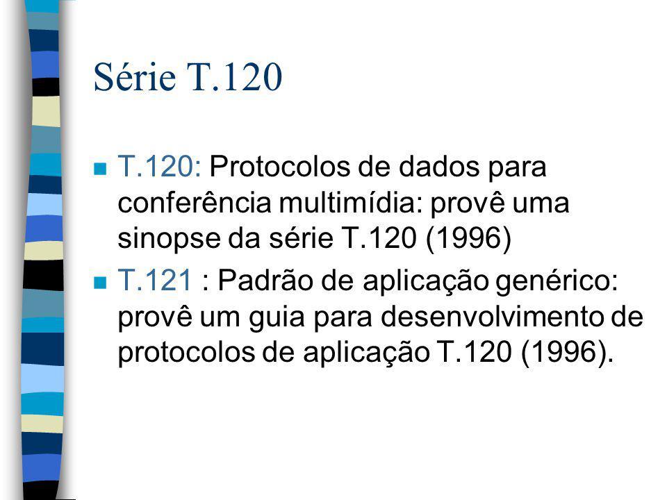 Série T.120 n T.120: Protocolos de dados para conferência multimídia: provê uma sinopse da série T.120 (1996) n T.121 : Padrão de aplicação genérico: